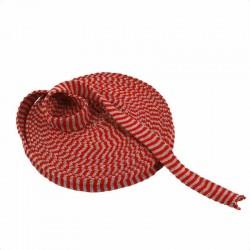 Tubo di maglia, h 2,2 cm - 1 mt ROSSO NATALE/GRIGIO