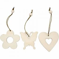 Decorazioni di legno fiore, farfalla, cuore 6 cm - 9 pz ass.