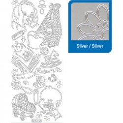 Sticker argento nascita a804