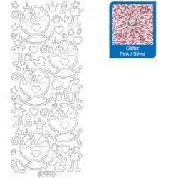 Sticker glitterato rosa 7020