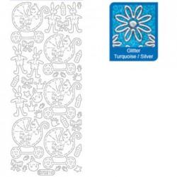 Sticker glitterato azzurro 7021