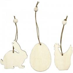 Decorazioni di legno coniglio, uova, gallina 6 cm - 200 pz ass.