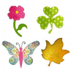 Fustella fiore, trifoglio, farfalla e foglia