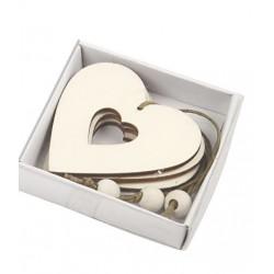 Decorazioni di legno cuore 6 cm